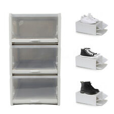 3* Plastic Clear Shoe Storage Transparent Box Stackable Case Organizer Durable