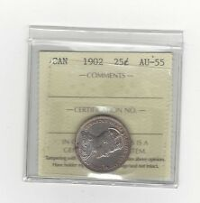 **1902**, ICCS Graded Canadian, 25 Cent, **AU-55**