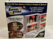 Swivel Store Spice Rack New In Box NIB Up To 2 Bottles White As Seen On Tv