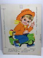 Vtg 75 Norcross Birthday Card Boy Cowboy Hat Car Kitten Original Artwork Proof