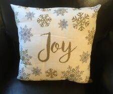 New Joy Christmas Silver and Gold Throw Pillow with Snowflakes