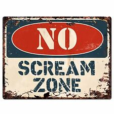 PP1907 NO SCREAM ZONE Plate Chic Sign Home Store Halloween Decor Gift
