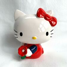 "Hello Kitty piggy bank ceramic Sanrio 6"" coin bank bow sitting holding flower"