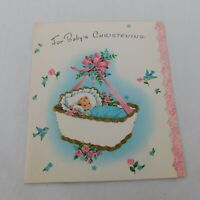 Greeting Card Baby Christening Vintage NOS Blue Birds Pink Flowers Cradle Bow