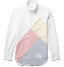 THOM BROWNE SLIM-FIT BUTTON-DOWN COLLAR PATCHWORK COTTON OXFORD SHIRT SMALL SZ 1