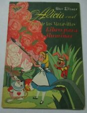 1953 WALT DISNEY ALICE IN WONDERLAND coloring PAINT book Mexican PAPER DOLL vtg