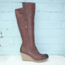 Aldo Leather Boots Size UK 8 Eur 41 Womens Pull on Sexy Shoes Wedge Brown Boots