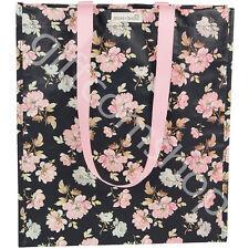 Sass & Belle Woven Plastic Reusable SHOPPER Tote Bag French Rose Black Flowers