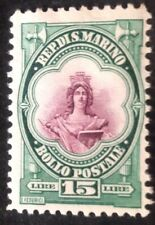 San Marino 1929 15 Lire Green & Purple Stamp Mint Hinged