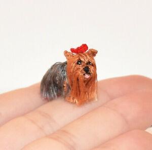 "Dollhouse Miniature Dog 0.8"" Realistic Yorkie Crochet Yorkshire Terrier Pet Gift"