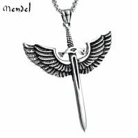 MENDEL Mens Archangel Michael Angel Wing Sword Necklace Pendant Stainless Steel