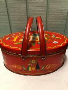 Vtg Pennsylvania Dutch/Amish Folk Art Red Oval Basket/sewing caddy-tin-large