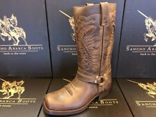 Sancho Boots Cowboystiefel Bikerstiefel Motorradstiefel 5859 Braun besohlt