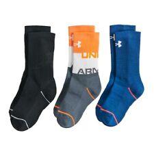 Boys NWT Under Armour Steph Curry Crew Socks 3prs Neon Blue PHENOM Ages 8-11