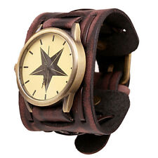 Montre Homme Quartz Vintage Rock Punk Large Bracelet Cuir Marron Rougeatre PROMO