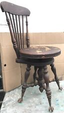 Vintage Antique High Back Glass Ball Claw Foot Piano Organ Spin Wood Stool