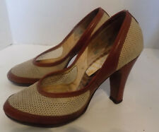 Vintage 50s White Mesh Brown Leather Round Toe High Heel Shoes 5 1/2 B Kay King
