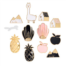 Vintage style pin badges brooch Fox Llama Apple Pineapple Mountain House Shell