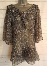 NEXT Size 6 Top Black/White BUTTERFLY Sheer 3/4 Sleeves VGC Women's Ladies