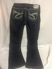 Silver Aiko Dark Wash Thick Stitch Bootcut Jeans Women's Size 27X33 Actual 30X31