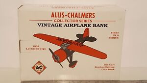 Allis Chalmers Vintage Airplane Bank 1/32 diecast metal airplane by Spec Cast