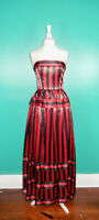 VINTAGE 80'S RED BLACK STRIPED VICTOR COSTA LONG BALL GOWN PEPLUM DRESS XS/S
