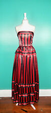 New listing Vintage 80'S Red Black Striped Victor Costa Strapless Gown Peplum Dress Xs/S