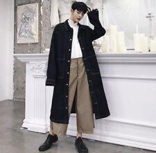 Korean Men's Loose Fit Oversize Trench Coat Jeans Denim Parka Jacket Black US L