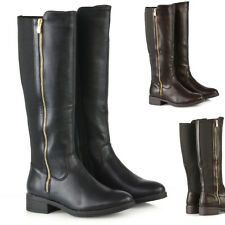Womens Flat Stretch Knee High Riding Boots Ladies Zip Biker Winter Shoes Size