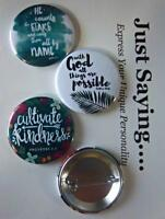 CHRISTIAN THEME 3-pk Novelty Buttons/Pins: With God all things are possible..