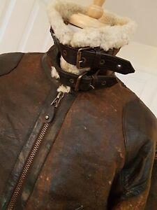 Vtg Biker Leather sheepskin fleece Brown shearling bomber flight pilot jacket XL