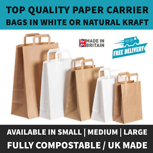 Paper Carrier Bags White Brown SOS Kraft Takeaway Party Lunch Food Flat Handles.