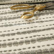 NUOVO rétro a righe motivo crema grigio colore qualità ciniglia FODERA TESSUTI