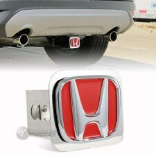 "Red Honda Polished Stainless Steel Hitch Cover Cap For 2"" Trailer Tow Receiver"