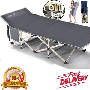 Heavy Duty Single Folding Bed With Carry Bag Camping Travel Guest Lightweight UK