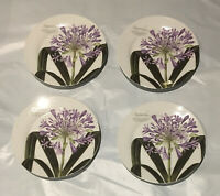 "Baum Brothers Agapanthus Plates Lily of the Nile African Lily Blue Lily 8"" Set 4"