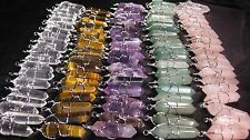 10 Pendants LOT Crystal Point Silver Wire Wrap Wrapped Charms U-Pick WHOLESALE 5