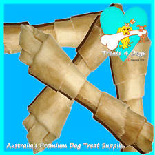 """BUFFALO RAWHIDE KNOTS 8"""" X 10 TREATS 4 DOGS (Safe Not Bleached) Natural Chews"""