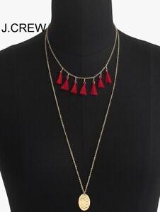 J.CREW dual necklace jewelry gold tone pendant red tassel tassels brass dust bag