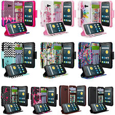 Alcatel Onetouch Pixi Pulsar Pu Leather Flip Wallet Case Cover w/Kickstand
