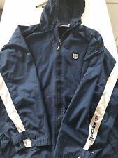 VTG Mens REEBOK Classic Cotton Jacket Windbreaker Hooded Zip Blue/white Xl Read