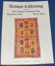 ANTIQUE COLLECTING SEPTEMBER 1980 - BALUCH RUGS/WOODEN PLANES/CHELSEA PORCELAIN