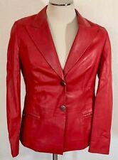 Louis Feraud Leather Blazer Jacket Red Size 8     SS0497