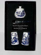 Blue Willow pattern Salt & pepper pots & mustard pot & spoon gift boxed