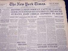1940 APRIL 16 NEW YORK TIMES - BRITISH LAND IN NORWAY, CAPTURE NARVIK - NT 231