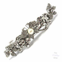 Bridal Wedding Prom Silver Crystal & Pearl Butterfly Barrette Hair Clip CL23