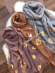Ladies Women Fashion Gold Rose Scarf Scarves Shawl Wrap Hijab New Chiffon UK