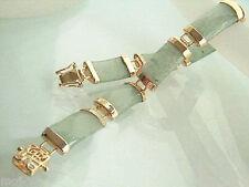 Natural Light Green Jade 18KGP Fortune Clasp Link Bracelet