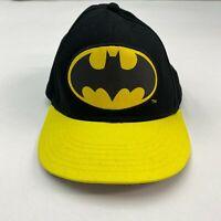 NWT DC Comics Batman Hat Cap Men's Adjustable Snap Back Black Yellow Cotton