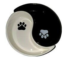 Small dog or Cat Kitty World Market Feeding Dish set Yin Yang Pottery Paw Print